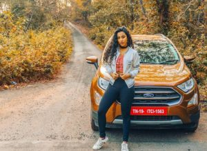 Meenal Shah with her car